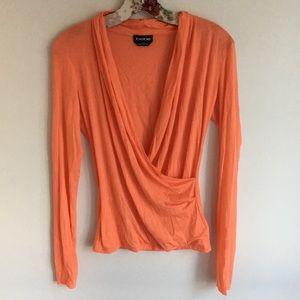 Bebe crossover long sleeve orange top